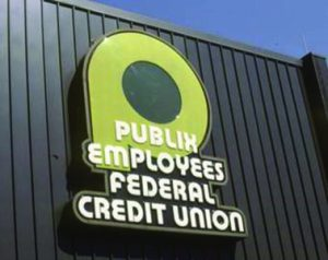 Publix Employees Federal Credit Union Logo Sign on front of Lakeland branch